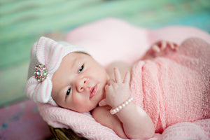 First Bow Pink Bling Newborn Hospital Hat