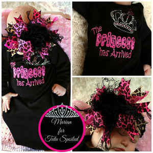 The Princess Has Arrived Embroidered Newborn Gown in Black