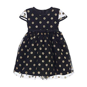 Black and Gold Polka Dress 3-6 mths