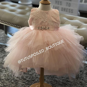 Brielle Blush Baby High Low  Dress