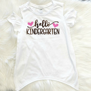Hello Kindergarten Hearts Grade Cold Shoulder Shirt