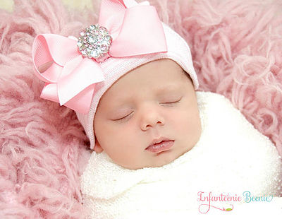 Her First Bling Bow Newborn Hospital Hat