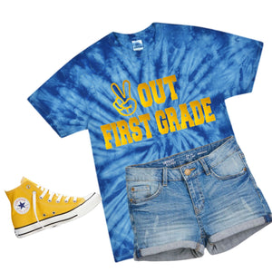 Peace Out First Grade Royal Tie Dye Shirt - Unisex