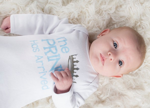 The Prince has Arrived Newborn Gown Blue