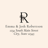 Custom Peony Monogram Address Stamp