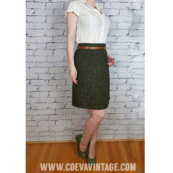 Vintage 60's Dark Green with Pop of Color Tweed Skirt