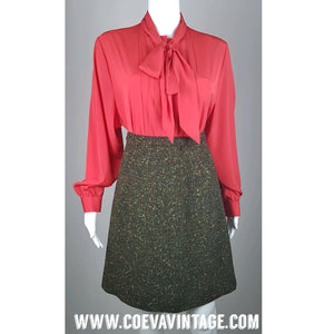 Vintage 1980's | Red Pussybow Box Pleat Shirt Blouse
