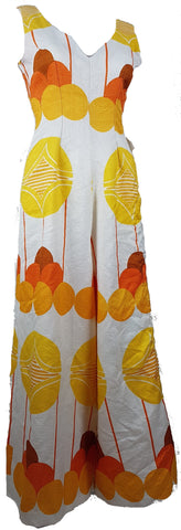Vintage 1960's | Funky White, Orange & Yellow Print Palazzo Jumpsuit