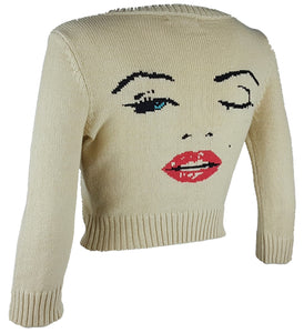 Rare! Betsey Johnson Marilyn Monroe Wink Cropped Cardigan Sweater