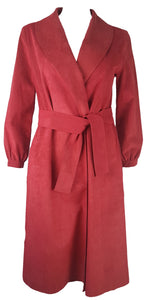 Vintage 1970s | Rare! Halston Red Ultra Suede Coat Dress with Pockets & Belt