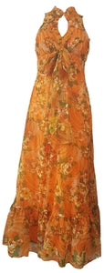 Vintage 1970's | Orange Floral Chiffon Maxi Dress