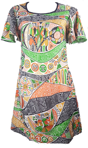 Vintage 60's | Rare! Zodiac Gemini Astrological Sign Novelty Print Dress