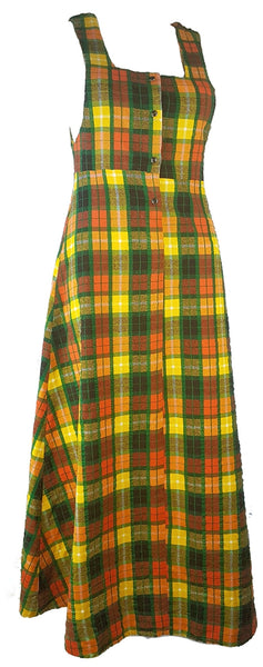 Vintage 70's | Green Orange Yellow  | Tartan Plaid Pinafore A-Line Maxi  Dress