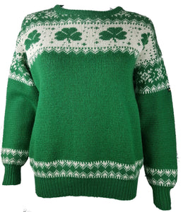 Vintage 70-80s Blarney Castle Irish Fisherman's Shamrock Wool Sweater