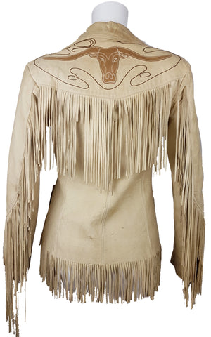 Vintage 1940/50's | Geronimo by Forrest Heath Co. Inc | Cowboy Fringe Bull Leather Jacket  | Fringe Jacket