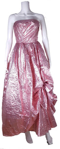 Vintage 80's | Stunning Metallic Pink Strapless Dress by Eletra TD4