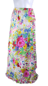 Vintage 70's | Personal by Leslie Fay | Psychedelic Floral Summer Meadow Wraparound Skirt