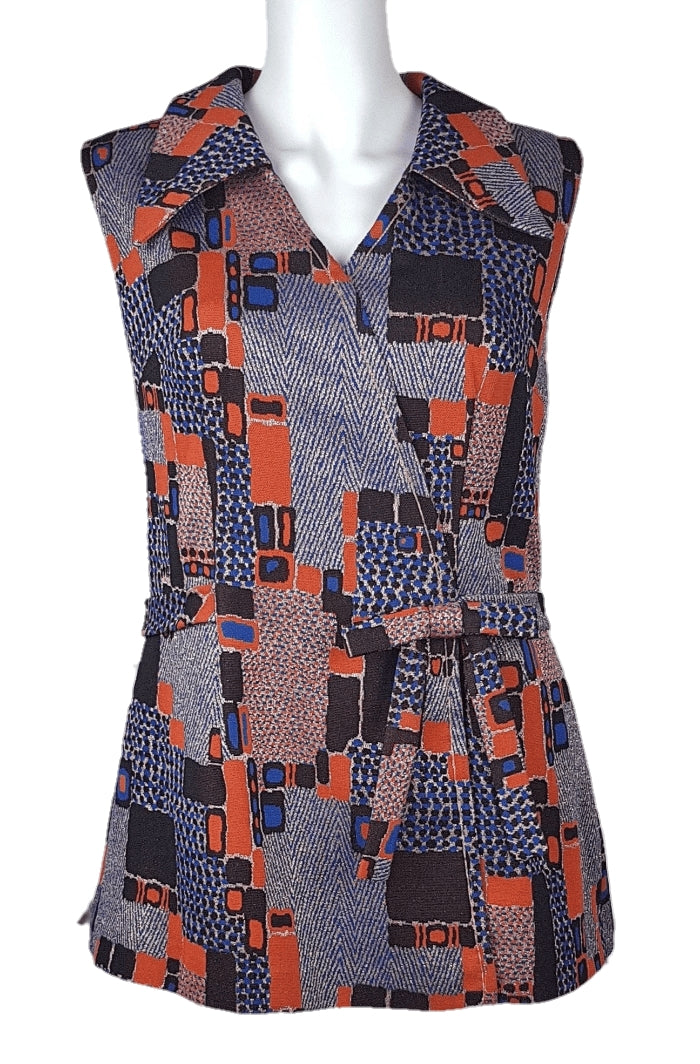 Vintage 60's Blue, Orange & Gold Micro Mini Dress