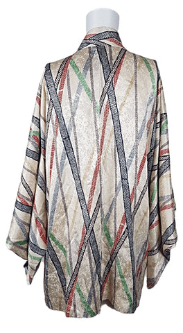 Vintage 50's Cream Multi Color Stripe Japanese Haori / Kimono
