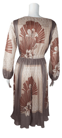 Vintage 1970's Art Nouveau Style Floral Lily Print Lurex Stripe Dress