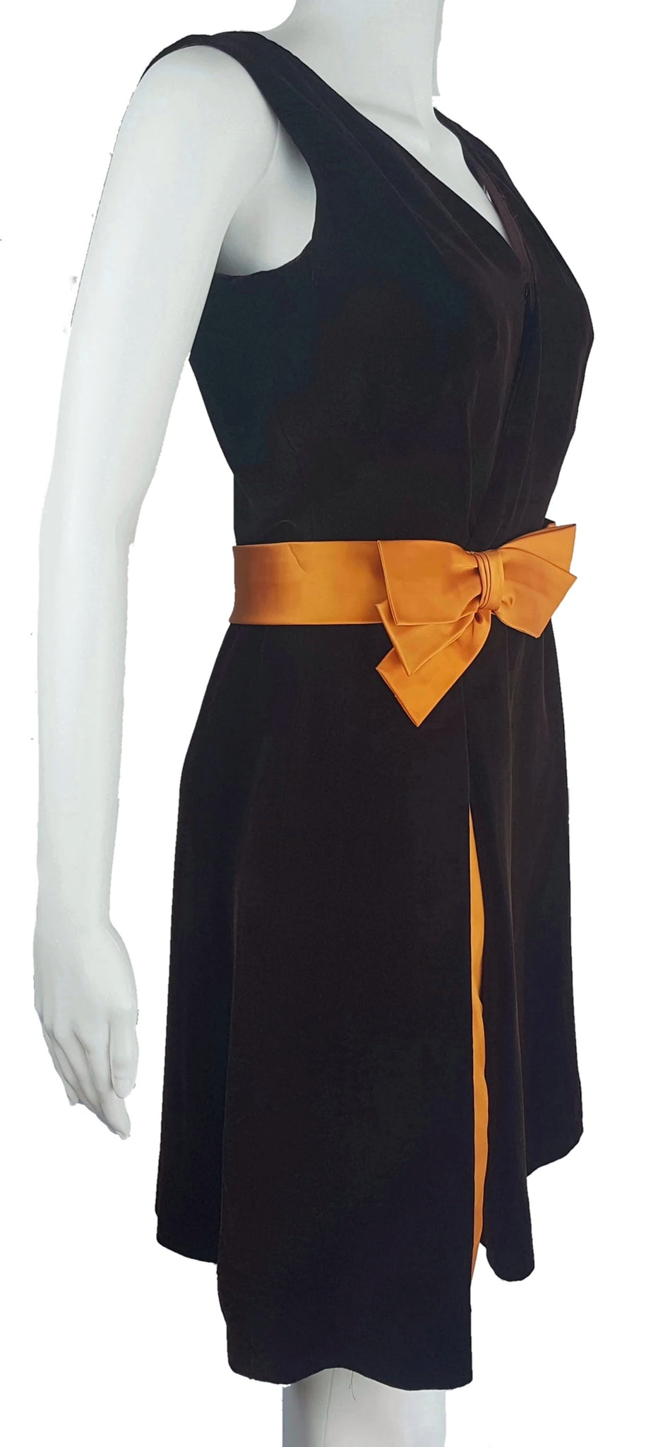 Vintage 1950's | A Lawrence Dress Original | Chocolate Brown Velvet & Orange Ribbon Dress