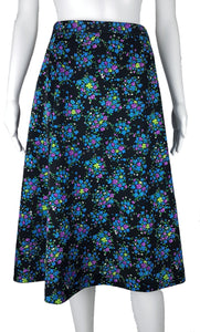 Vintage 70s Black Vibrant Blue, Purple & Green Floral Print Skirt