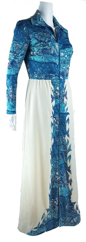 Vintage 70's Missy House of Canada Aqua Maxi Dress