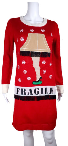 Modern 'A Christmas Story' Leg Lamp Light Up LED Red Sweater Dress