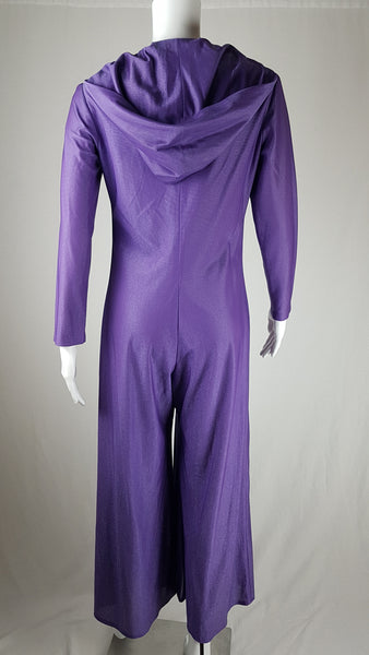 Vintage 1970's Hooded Purple Jumpsuit