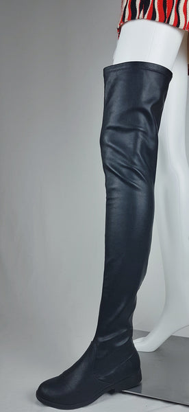 Black Thigh High Vegan Leather 'LFL' by Lust for Life Boots | Womens US 6 | EU 36.5