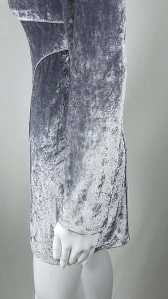 Vintage 90's does 60's Silver - Grey Long Pile Velvet Mini Dress