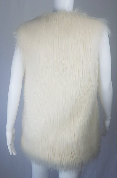 Vintage Inspired Cream Faux Fur Vest / Sleeveless Jacket