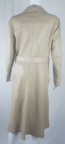 Vintage 1970's | Beige/Sand/Cream Leather Belted Trench Coat