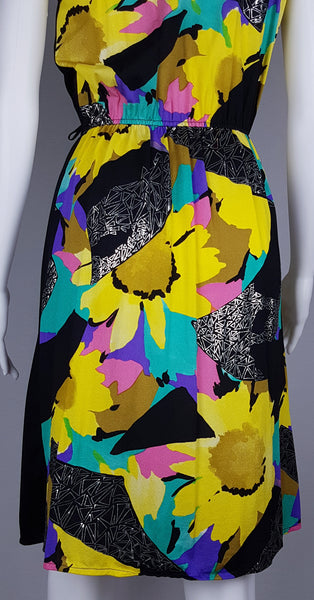 Vintage 1970's | Bold Abstract Floral  & Silver Triangle Foil Dress (with Pockets!)
