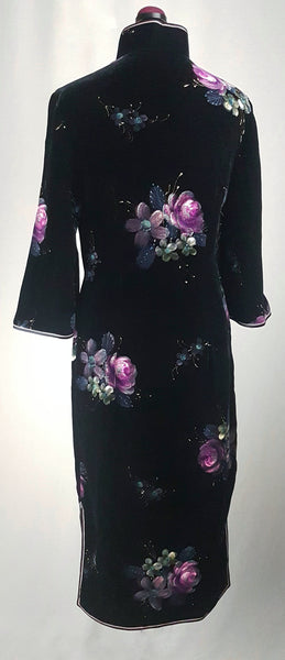 Vintage 1950's | Hand Painted Black Velvet Floral Cheongsam Qipao Dress