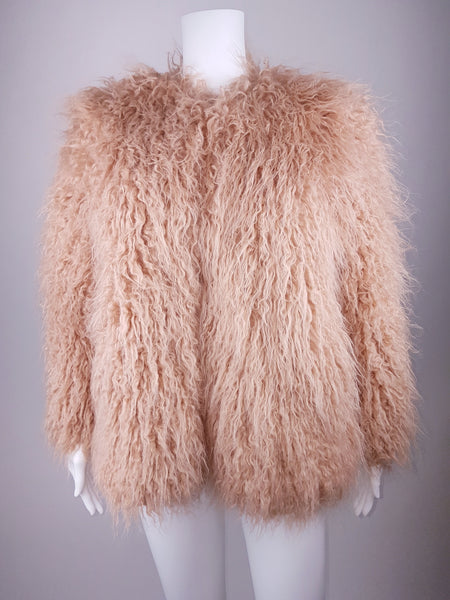 Luxuriously Soft | Dusty Rose Pale Pink | Shaggy Faux Fur Jacket