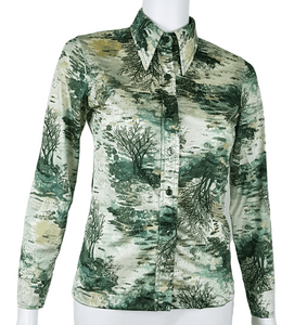 Vintage 70's Funky Green Forest /Tree Print Shirt