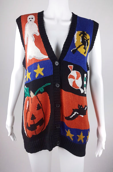 Vintage 80/90's Knitted Laura Gayle Novelty Ugly Halloween (Witch/Ghost/Candy/Pumpkin/Bat) Sweater Vest