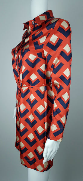 'Madmen Collection' Silk Red & Navy Geometric Print Shirt Shift Dress - Deadstock with tags