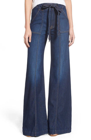 Authentic 7 For All Mankind Midrise Belted Palazzo Jeans (Deadstock with Tags)