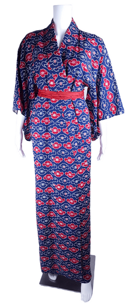 Vintage Blue & Red & White Lotus Flower Cotton Kimono