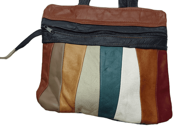 Vintage 70's | Multicolored Striped Mexican Leather Bag |  Autumn Tones Leather Purse