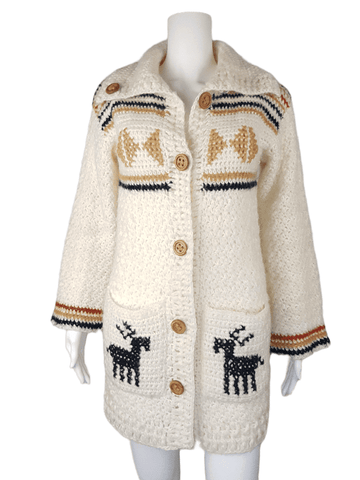 Vintage 1990's Leroy Knitwear Cream Deer Cardigan Sweater
