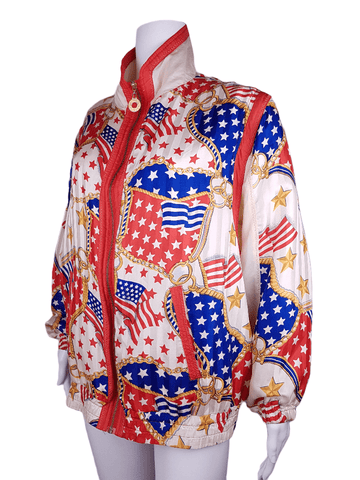 Vintage 80/90's | Mureli Pure Silk Bold USA flag & Chain Print Windbreaker Jacket