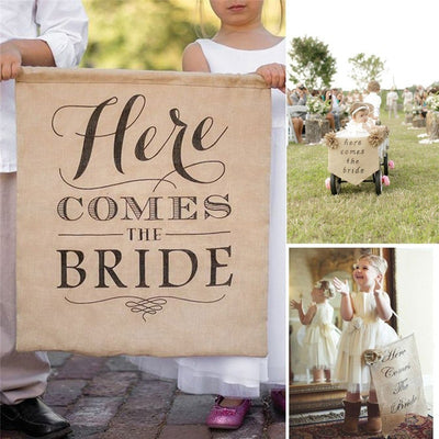 Rustic Here  Comes the Bride Banner