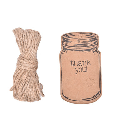 Rustic Bottle Thank You Tags 50pcs