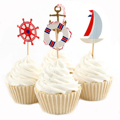 Nautical Theme Cupcake Topper 24pcs