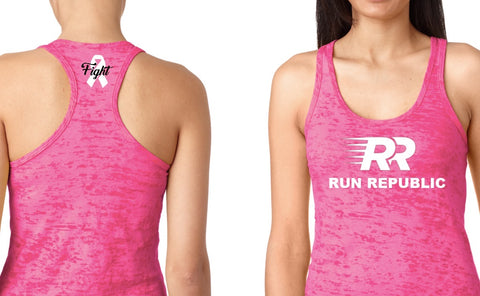 Run Republic Women's Breast Cancer Burnout Tank - Run Republic