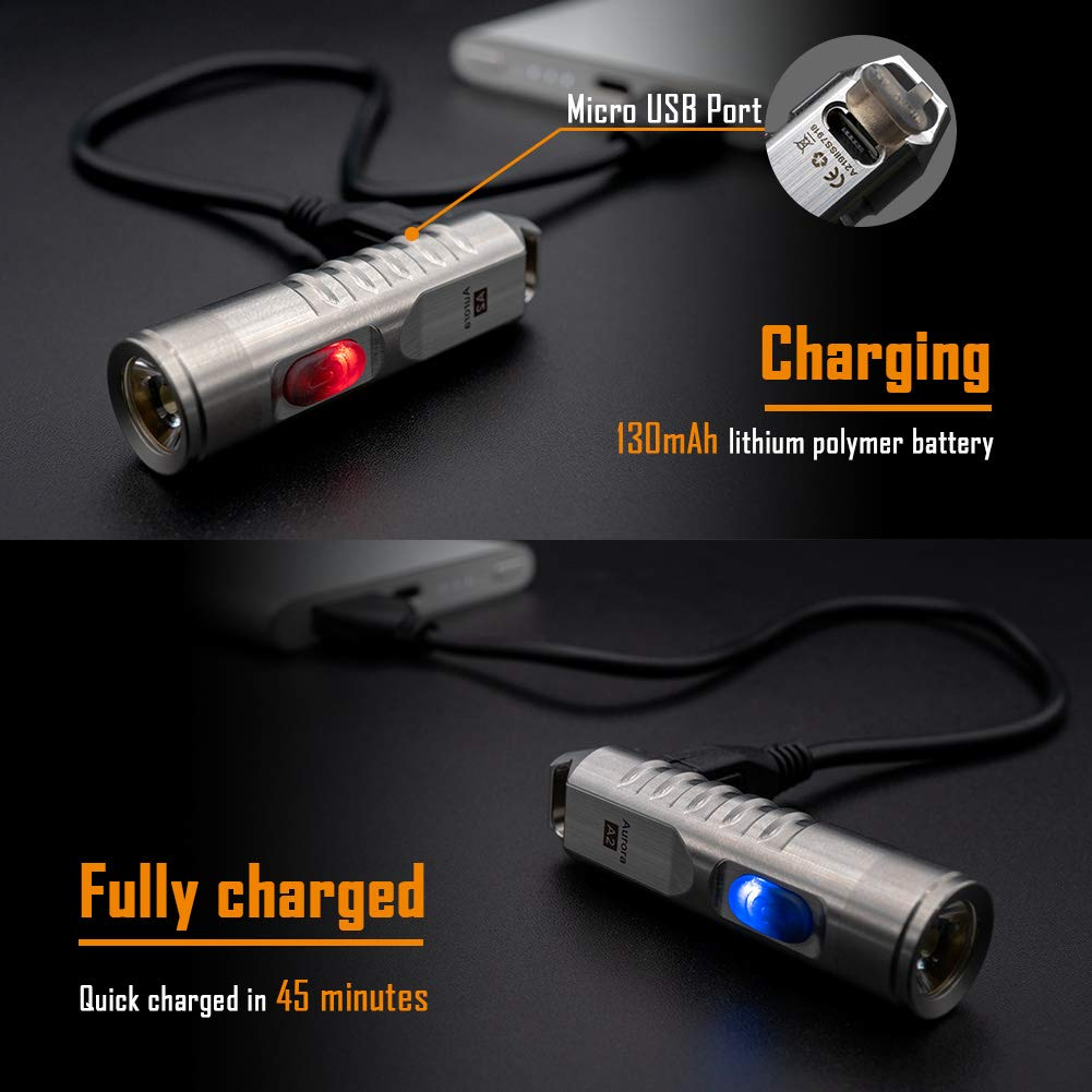 Aurora A2 Stainless Steel Keychain Flashlight