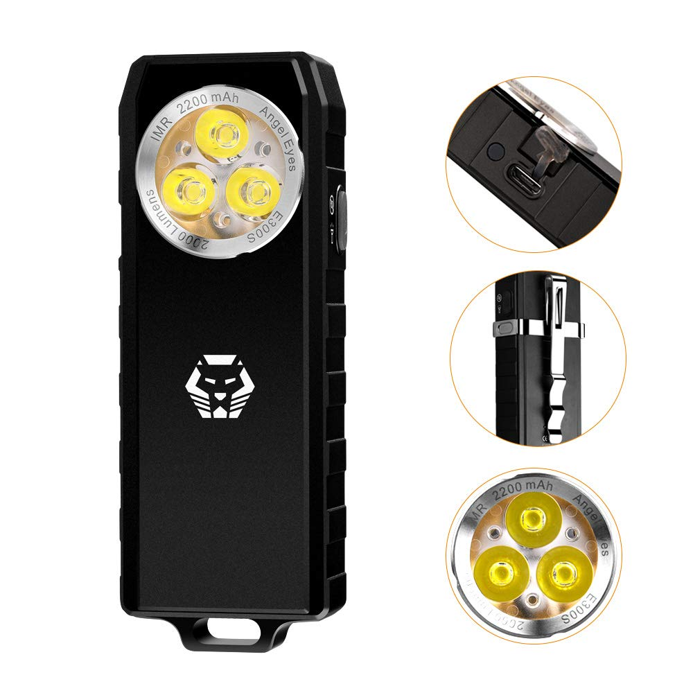 2000 Lumens Powerful Angel Eyes E300S Multipurpose EDC LED Flashlight